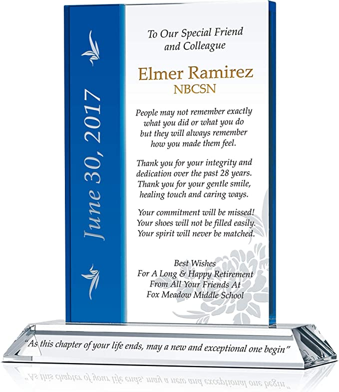 Customized with Retirees Name M - 7.5 Personalized Crystal Retirement Gift Plaque for Friends and Colleagues Unique Retirement Farewell Gift for Man or Woman