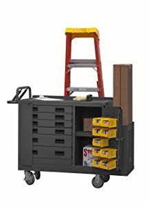 Durham 16 Gauge Welded Steel Mobile Bench Cabinet with 6 Drawers, 2211-DLP-6DR-RM-9B-95, 1 Shelf