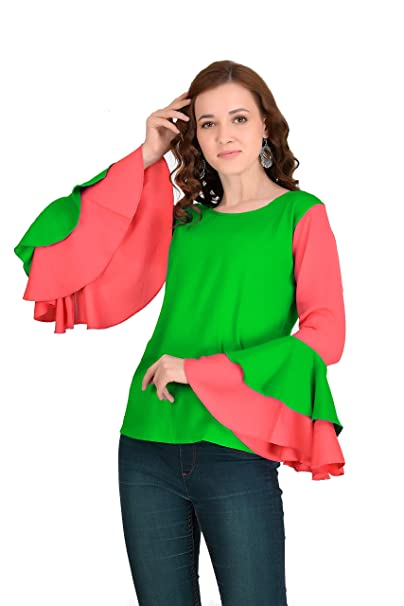 0e63540e6f54e VAANYA Bell Sleeve Rayon Casual Top for Women  Amazon.in  Clothing ...