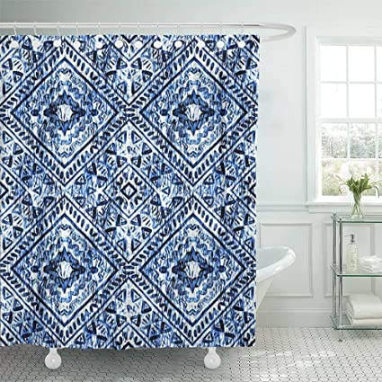Amazon Emvency Shower Curtain 72x72 Winter Watercolor Hand Blue