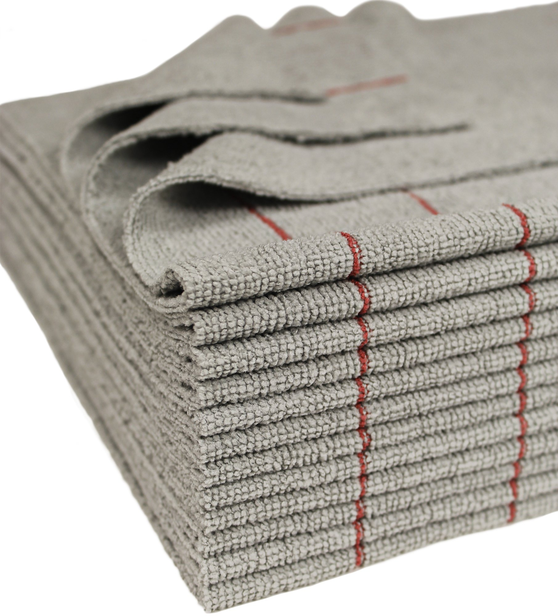 CleanAide Antimicrobial Silver Towels Edgeless Cut Red Stripe 16 X 16 in 12 Pack product image
