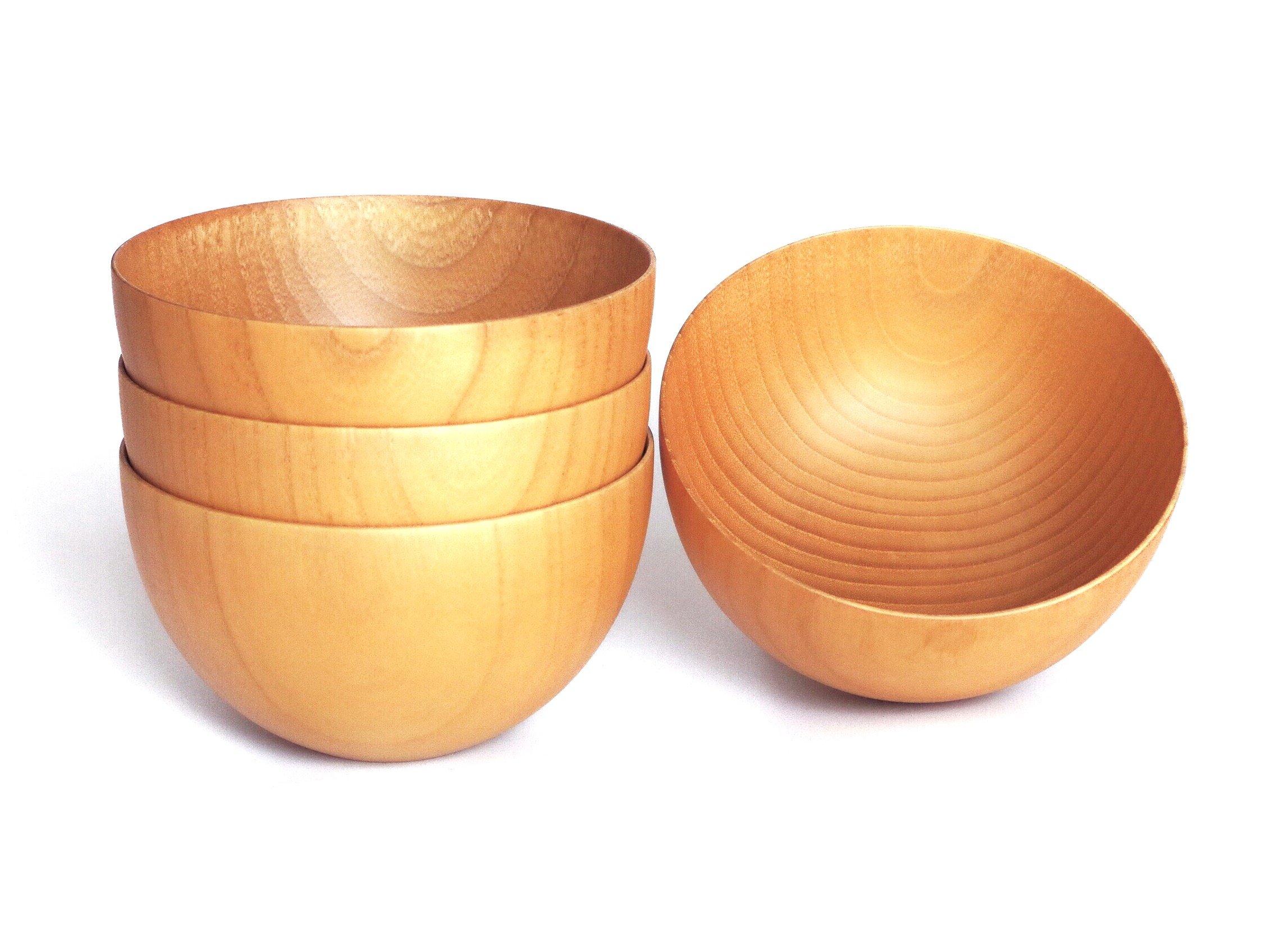 Wooden bowl set -12 Ounce for Cereal, Rice, Salad, Soup, Dessert, Snack, Porridge - Set of 4, Wood Color