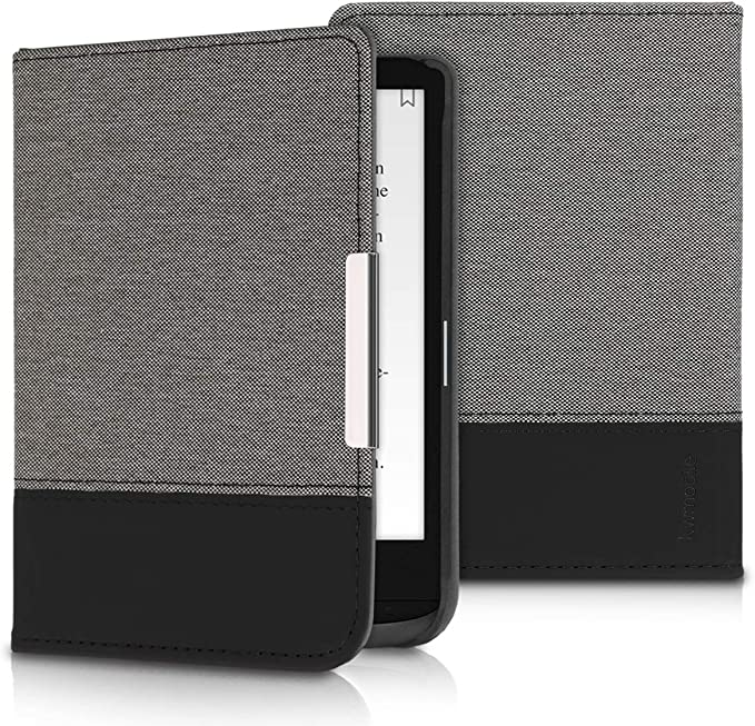 Varias Estrellas Verde Claro//Azul//Gris Oscuro kwmobile Funda Compatible con Pocketbook Touch Lux 4//Basic Lux 2//Touch HD 3 Carcasa para e-Book de Cuero sint/ético