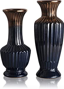TERESA'S COLLECTIONS Ceramic Antique Vase, Glazed Luxury Blue and Gold Decorative Flower Vases for Home Decor, Mantel, Table, Living Room, Office Decoration-Set of 2