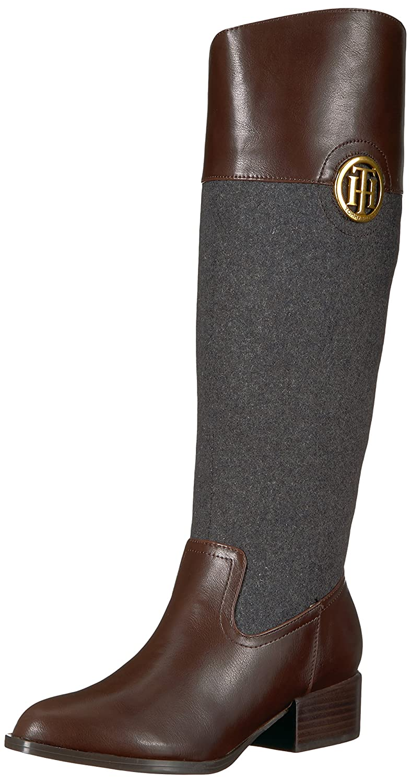 Tommy Hilfiger Women's Madelen Equestrian Boot B06XV2M84L 7 B(M) US|Grey Flannel/Brown