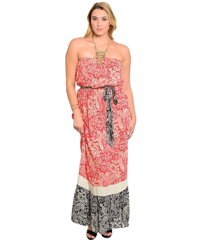 Bandeaukleid / Freizeitkleid / Frühlingskleid / Sommerkleid bodenlang, trägerlos mit Gürtel - koralle-weiß & schwarz-weiß