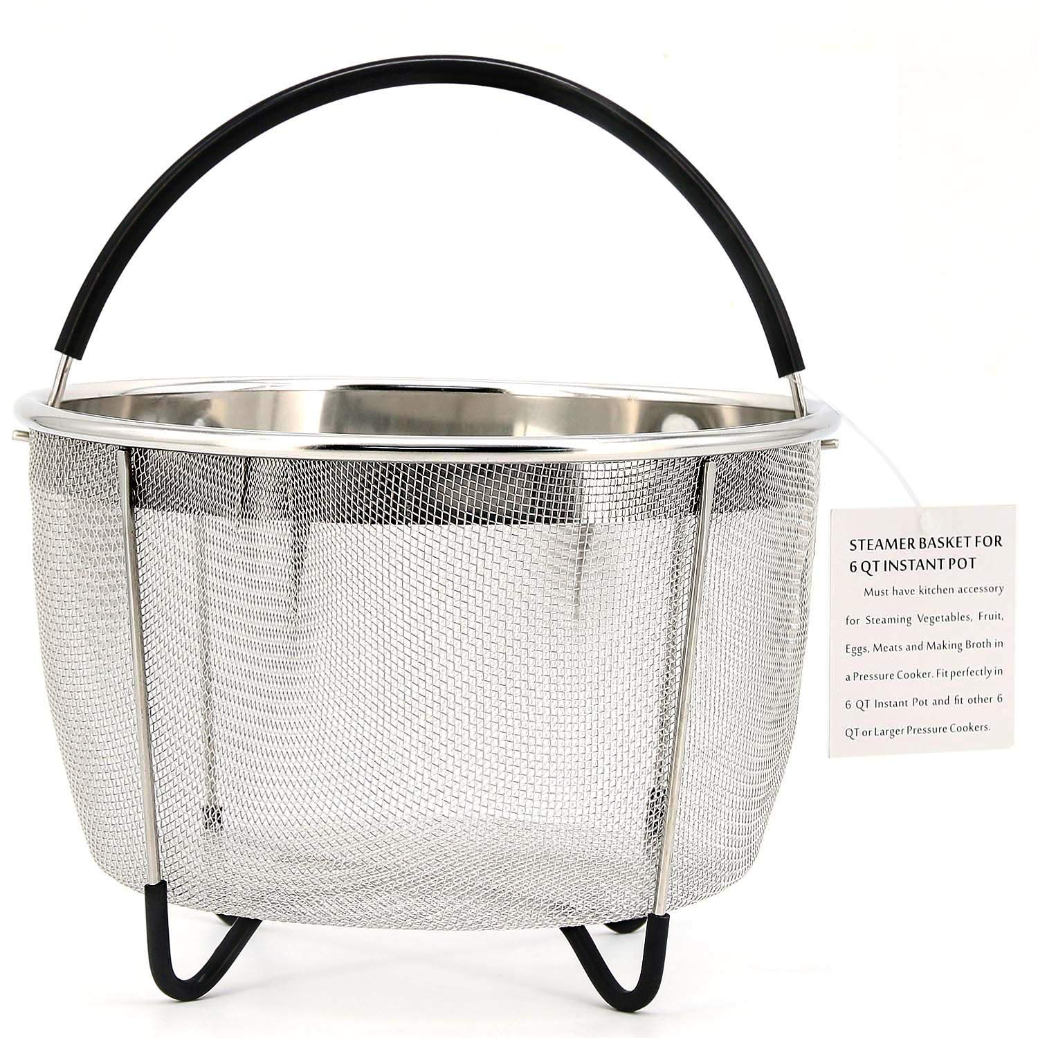 Bonison Stainless Steel Steamer Basket for Instant Pot, with Silicone Wrapped Handle, Custom Fit for 5/6 QT or 8 QT InstaPot Pressure Cooker. Perfect for Steam Egg, Meat, Veggie. (6 QT)