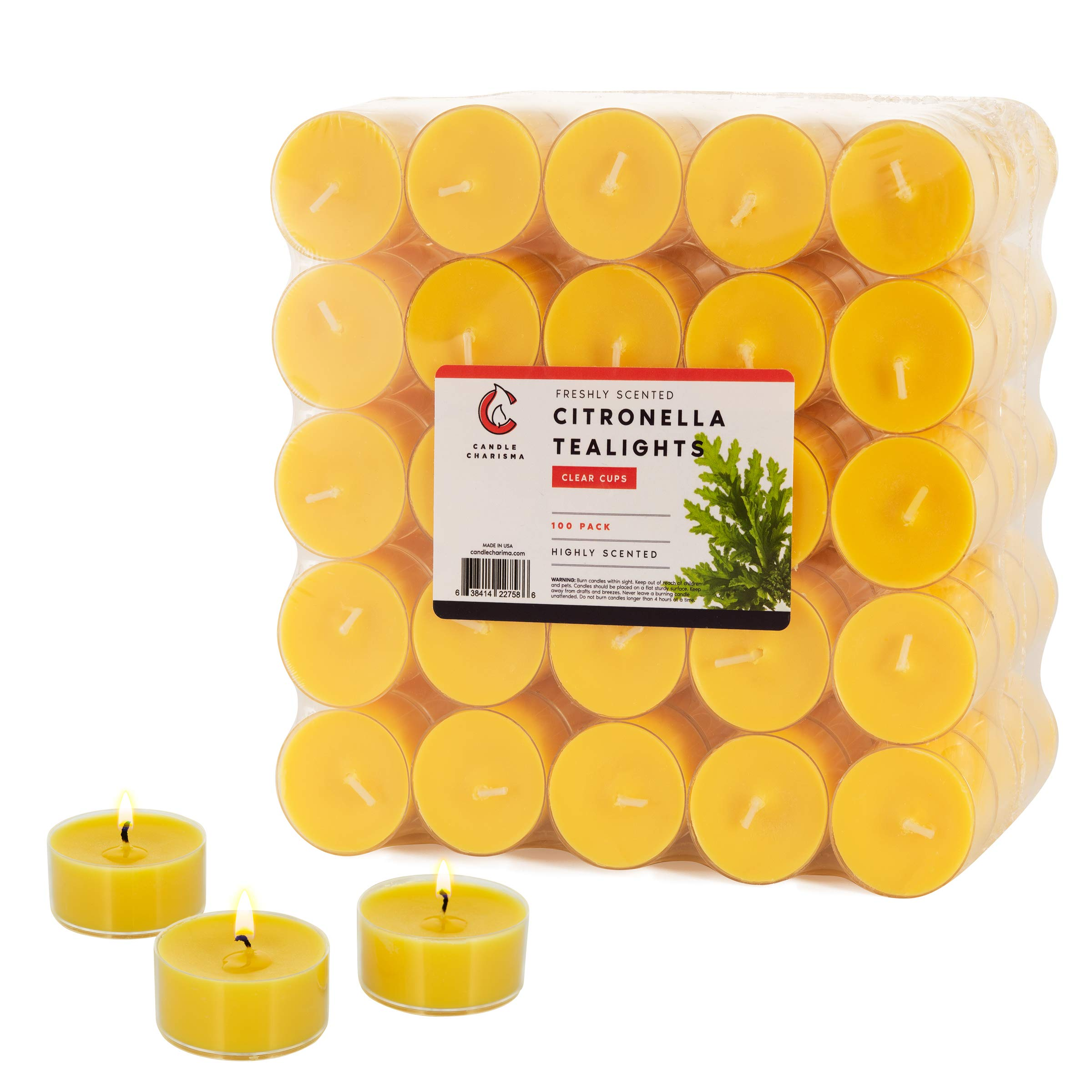 100 Citronella Tea Light Candles Fancy in Clear Cups 5 Hour Burn Time Indoor and Outdoor Made in USA