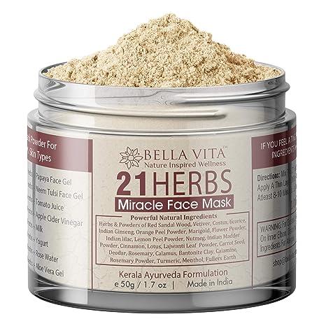 Bella Vita Organic 21 Herbs Face Pack For Glowing Skin For Women & Men, 50g
