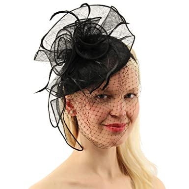 6171a8bff01b9 C.C CC Sinamay Feathers Netted Veil Fascinators Headband Cocktail Derby Hat  Black