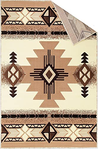 Champion Rugs Southwest Native American Indian Ivory Carpet Area Rug 8 Feet X 10 Feet
