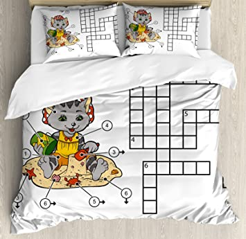 Amazon Word Search Puzzle King Size Duvet Cover Set by