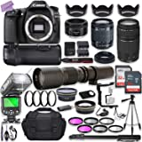 Canon EOS 80D DSLR Camera w/ 18-55mm Lens Bundle + Canon 75-300mm III Lens, Canon 50mm f/1.8 & 500mm Preset Lens…