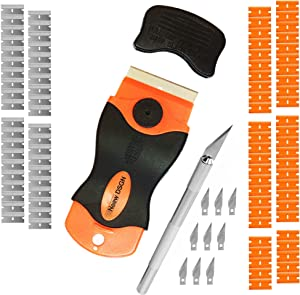 Razor Scraper with Metal and Plastic Blades – Scraping Tool with 90 Spare Blades for Labels Stickers Decals Paint from Fragile and Hard Surfaces – Bonus Precision Hobby Knife with 9 Blades