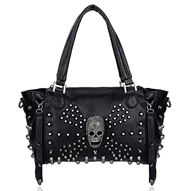 13b3fb0d966e Amazon.com  UTO Women Skull Bag Rivet Studded Handbag PU Leather Purse  Satchel Shoulder Bags Black  Shoes