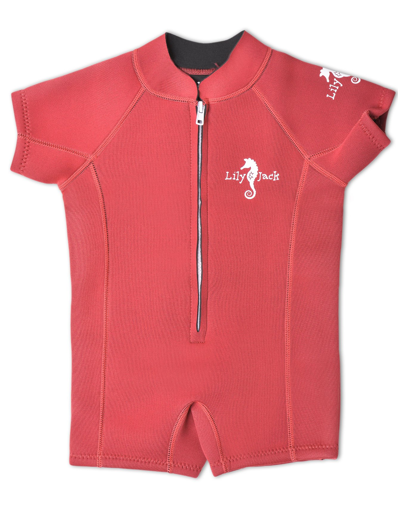 Baby Wetsuit Neoprene Swimwear for Boy and Girl Toddlers with UV Protection. (Medium / 18-24 Months, Red) by Lily&Jack
