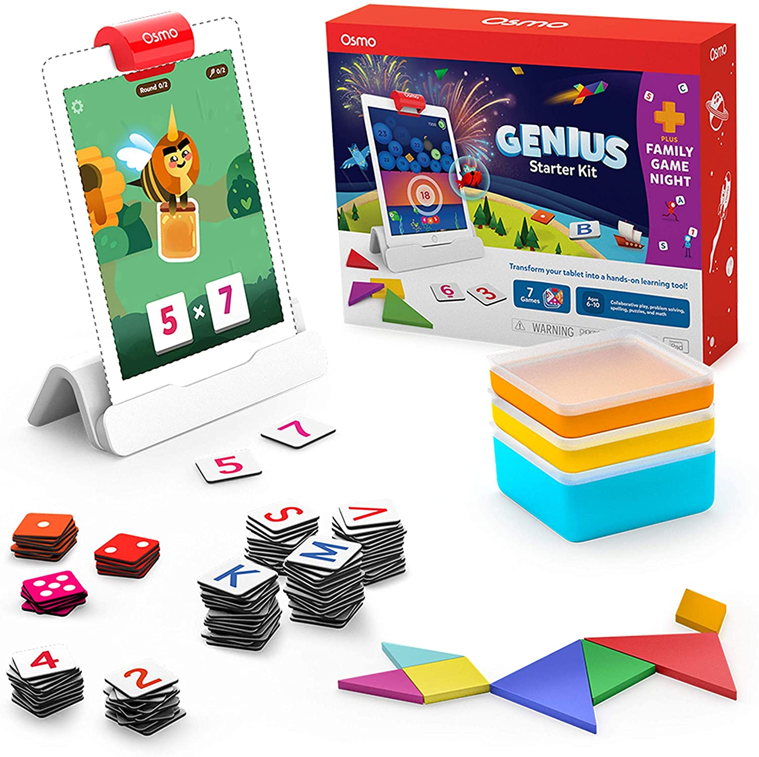 Osmo - Genius Starter Kit for iPad + Family Game Night - 7 Hands-On Learning Games for Spelling, Math & More - Ages 6-10 iPad Base Included - Amazon Exclusive