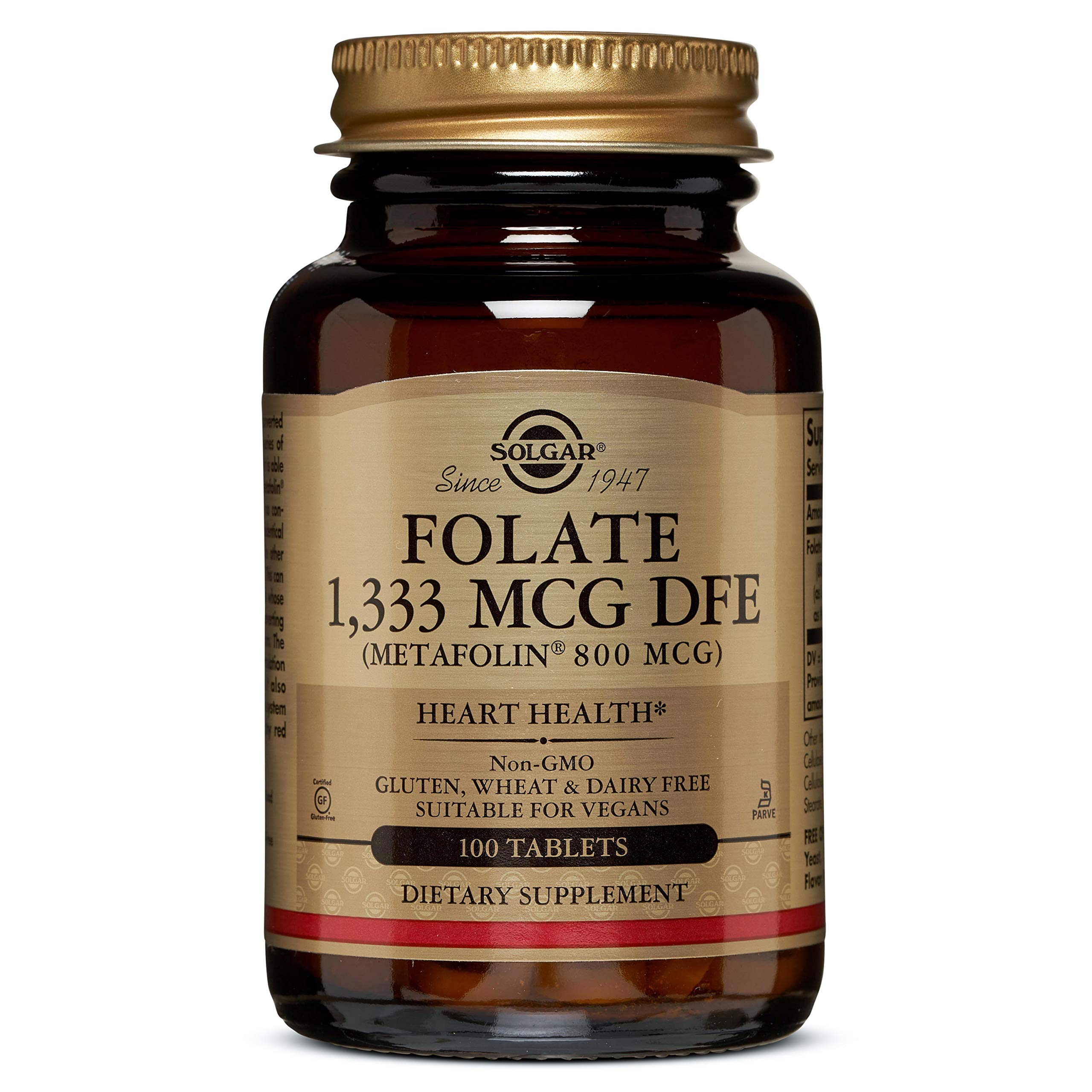 Solgar - Folate (as Metafolin) 800mcg Tablets, 100 Count, 2 Pack - Supports Heart and Nervous System Health