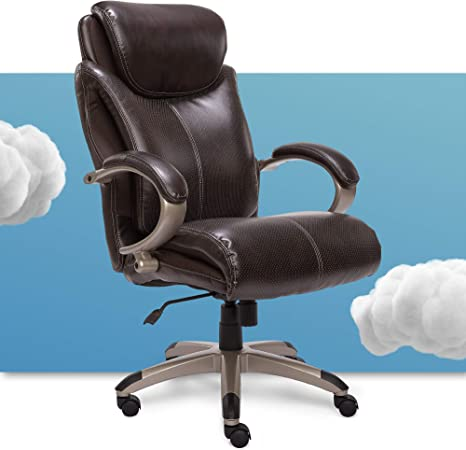Amazon Com Serta Big And Tall Executive Office Chair With Air Technology And Ergonomically Layered Body Pillows Supports Up To 350 Pounds Bonded Leather Roasted Chestnut Furniture Decor