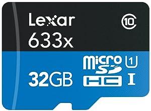 Lexar High-Performance microSDHC 633x 32GB UHS-I Card w/SD Adapter - LSDMI32GBBNL633A