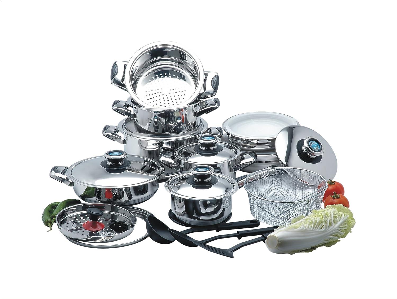 cookwell 25 piezas Batería de cocina de acero inoxidable ...