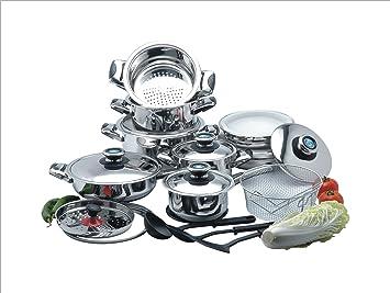 cookwell 25 piezas Batería de cocina de acero inoxidable quirúrgico ...
