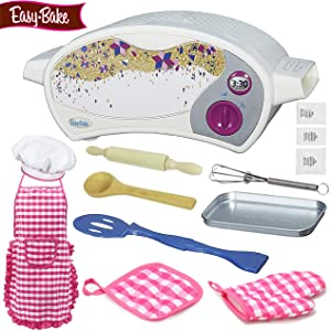 BlueberryGifts Easy Bake Oven Star Edition Bundle Include Chocolate Brownie Mix and Vanilla Frosting Mix, 1 Pack Rainbow Sugar Crystals with Instructions,7 PCS Kid Play Set.
