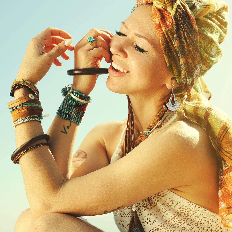PROJEWE 8-10 Paires Boh/ème Vintage Mandala Fleur Gypsy Boucle Doreilles Fantaisie pour Femmes Filles Pendentif Creux Ethnique Boucles Doreilles Pendantes Classique Bijoux De Mode