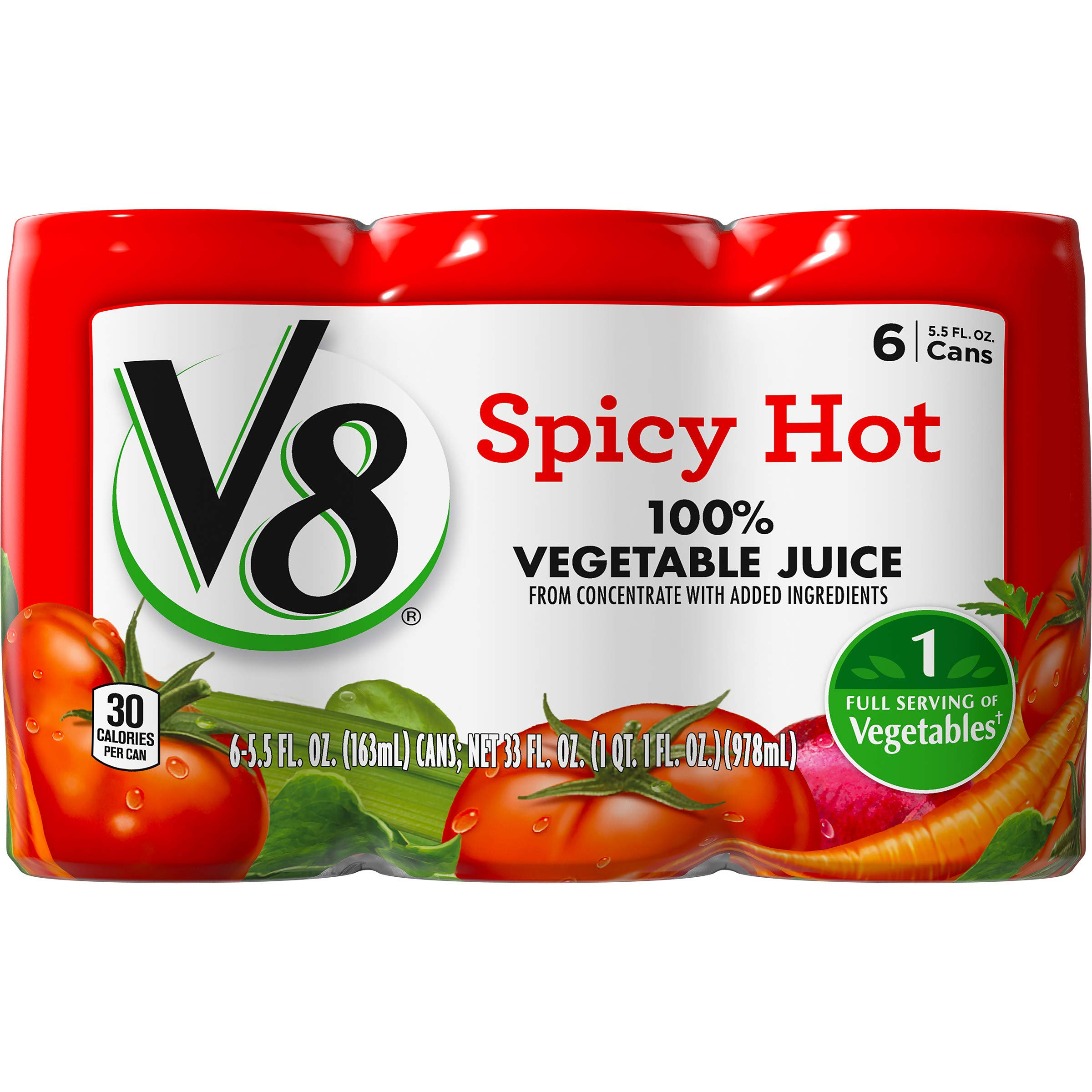 V8 Spicy Hot 100% Vegetable Juice, 5.5oz. Can (8 Packs of 6, Total of 48) by V8