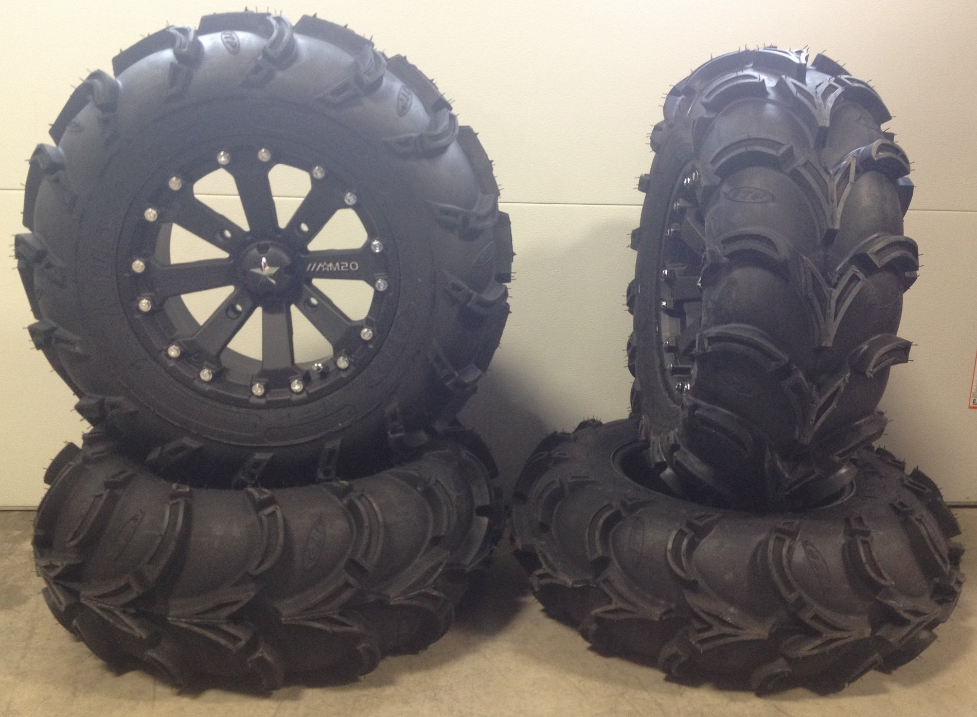 Bundle - 9 Items: MSA Black Kore 14'' ATV Wheels 28'' Mud Lite XL Tires [4x156 Bolt Pattern 12mmx1.5 Lug Kit]