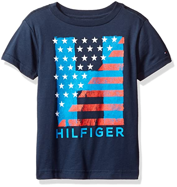 53bbbda3 Image Unavailable. Image not available for. Color: Tommy Hilfiger Boys'  Big' Short Sleeve Crew Neck Flag Graphic T-Shirt,