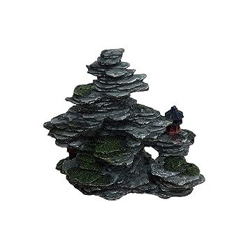 Adorno decorativo para acuario o pecera, diseño de pequeñas rocas con plantas de plástico: Amazon.es: Productos para mascotas