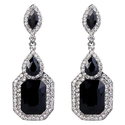 44055b3e8 BriLove Wedding Bridal Dangle Earrings for Women Emerald Cut Crystal  Infinity Figure 8 Chandelier Earrings Black