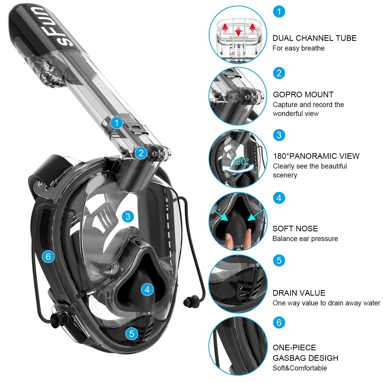 SFUN Diving Mask Full Face Anti-Fog Panoramic Snorkel Mask for Scuba Diving Snorkeling BLUE (BLUE)