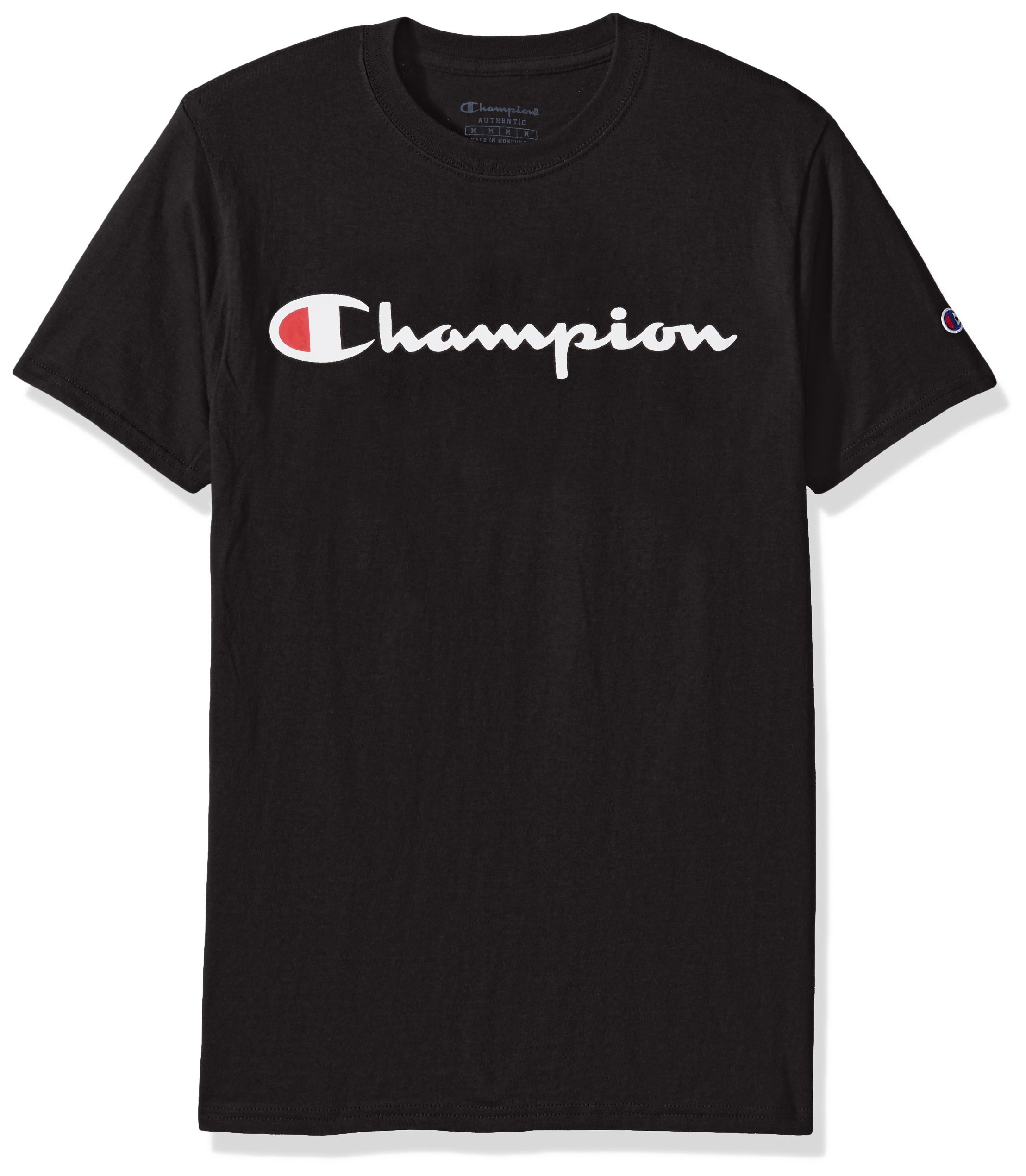 Champion Men's Classic Jersey Script T-Shirt, Black, M by Champion