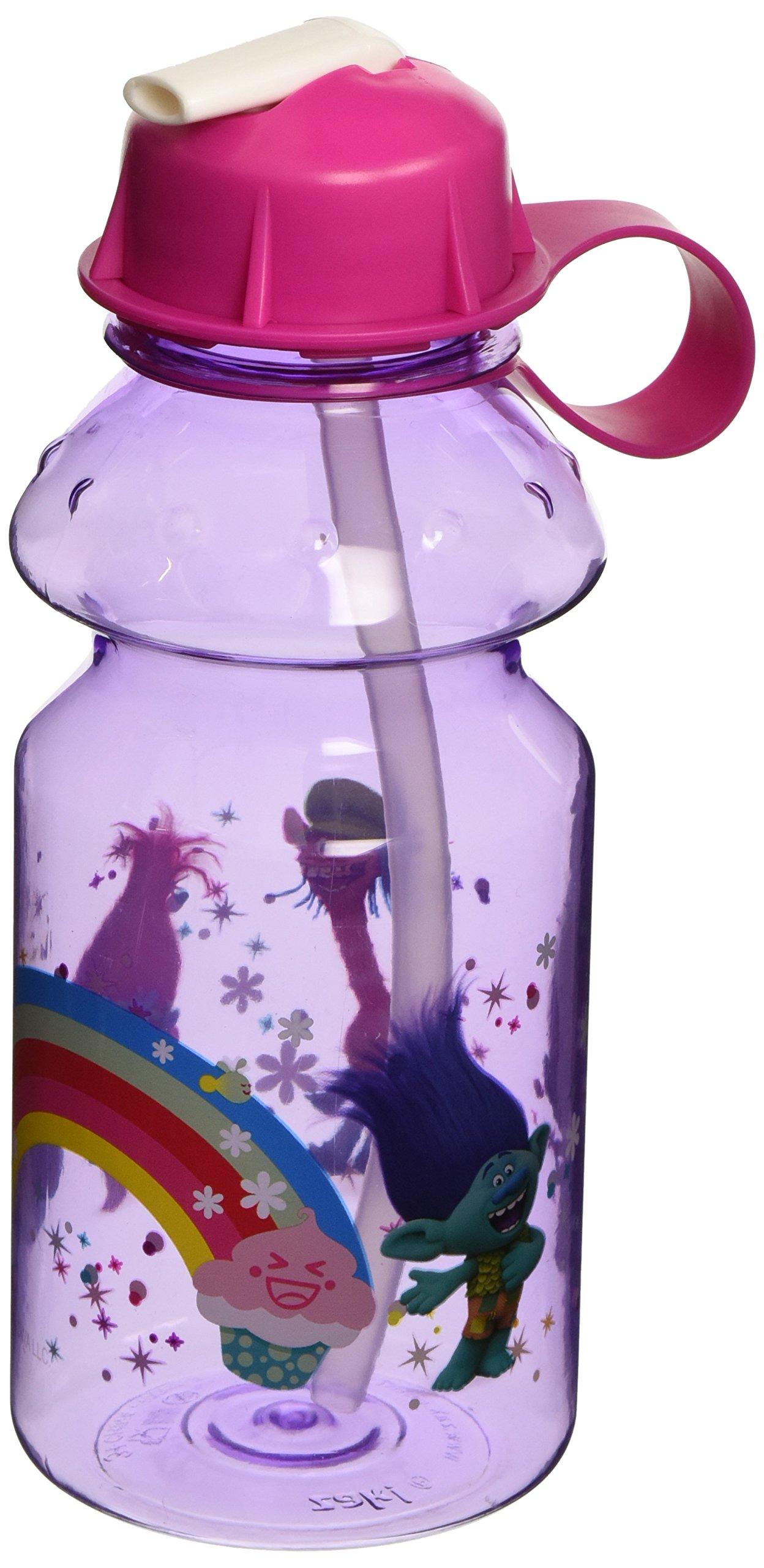 Zak Designs TROF-K870-B Trolls Movie 14 oz. Water Bottle with Flip Straw, Poppy, Branch, Cooper & Guy Diamond