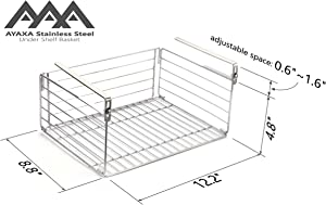 AYAXA Under Shelf Basket, Stainless Steel Organizer, Under Shelf Basket with Clamped Clasps, Hanging Mobile Storage, SUS304 Stainless Steel, The Real Stainless Steel, Never Rust in Lifetime