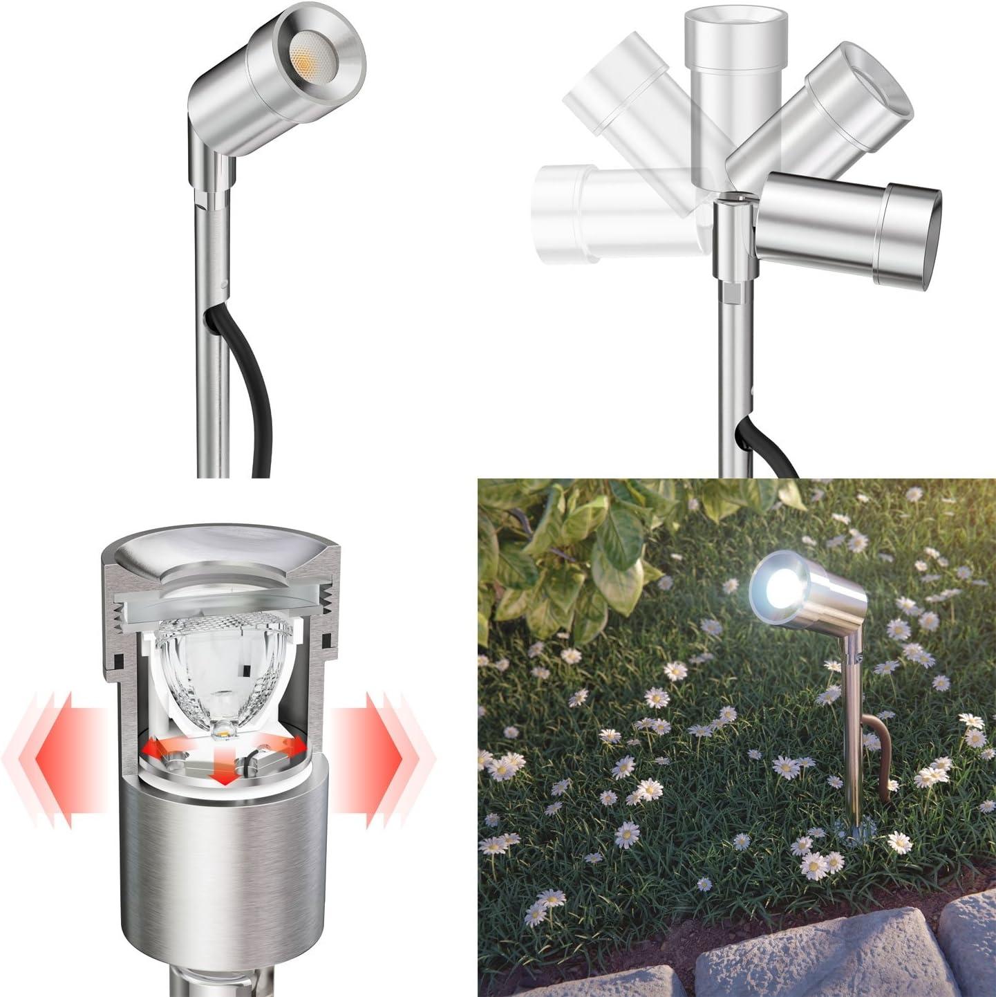 parlat LED Gartenstrahler Spico mit Erdspieß und Dämmerungssensor für außen IP44 68lm kalt-weiß 3er Set 2er-Set