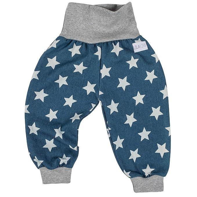 Baby Pumphose 50 56 62 68 74 80 86 92 Glitzer Sterne Grau handmade