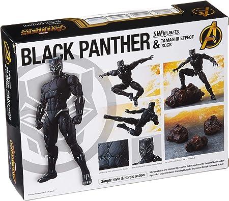 Bandai - Figura Black Panther Movie y Set Efectos Roca, Negro, 15 cm