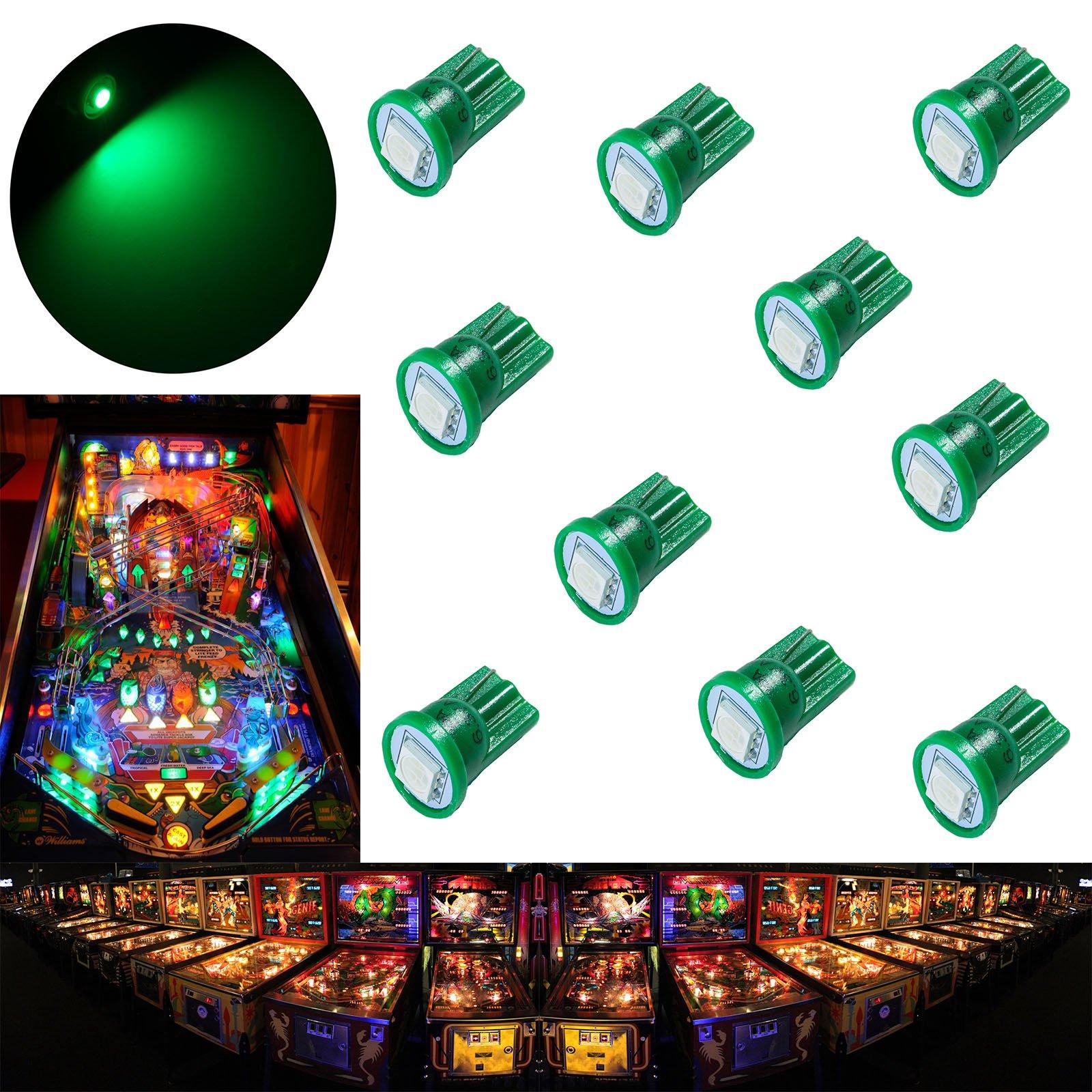PA 10PCS #555 T10 1SMD LED Wedge Pinball Machine Light Top View Bulb Green-6.3V by PA