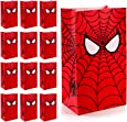 30 Pieces Hero Party Treat Bags Spider Web Printed Kraft Paper Goodie Bags Gift Bags Candy Bags for Hero Theme Birthday Party Decorations and Supplies
