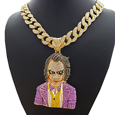 BLINGFACTORY Hip Hop Iced Out Large Joker w  18