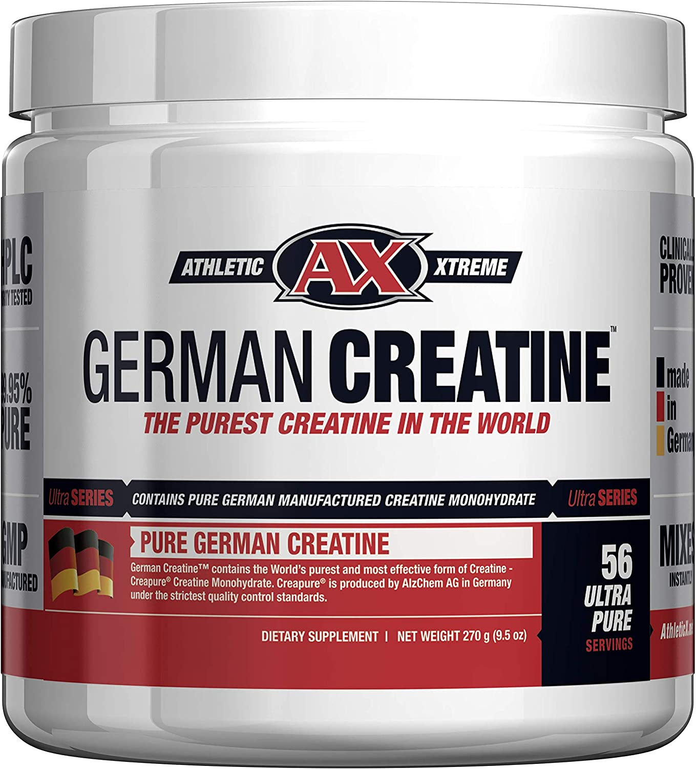German Creatine (Pure Creapure, The Purest Creatine Monohydrate Available) - 270g (56 Servings) | Micronized Creatine from Germany not Chinese Contaminated Junk