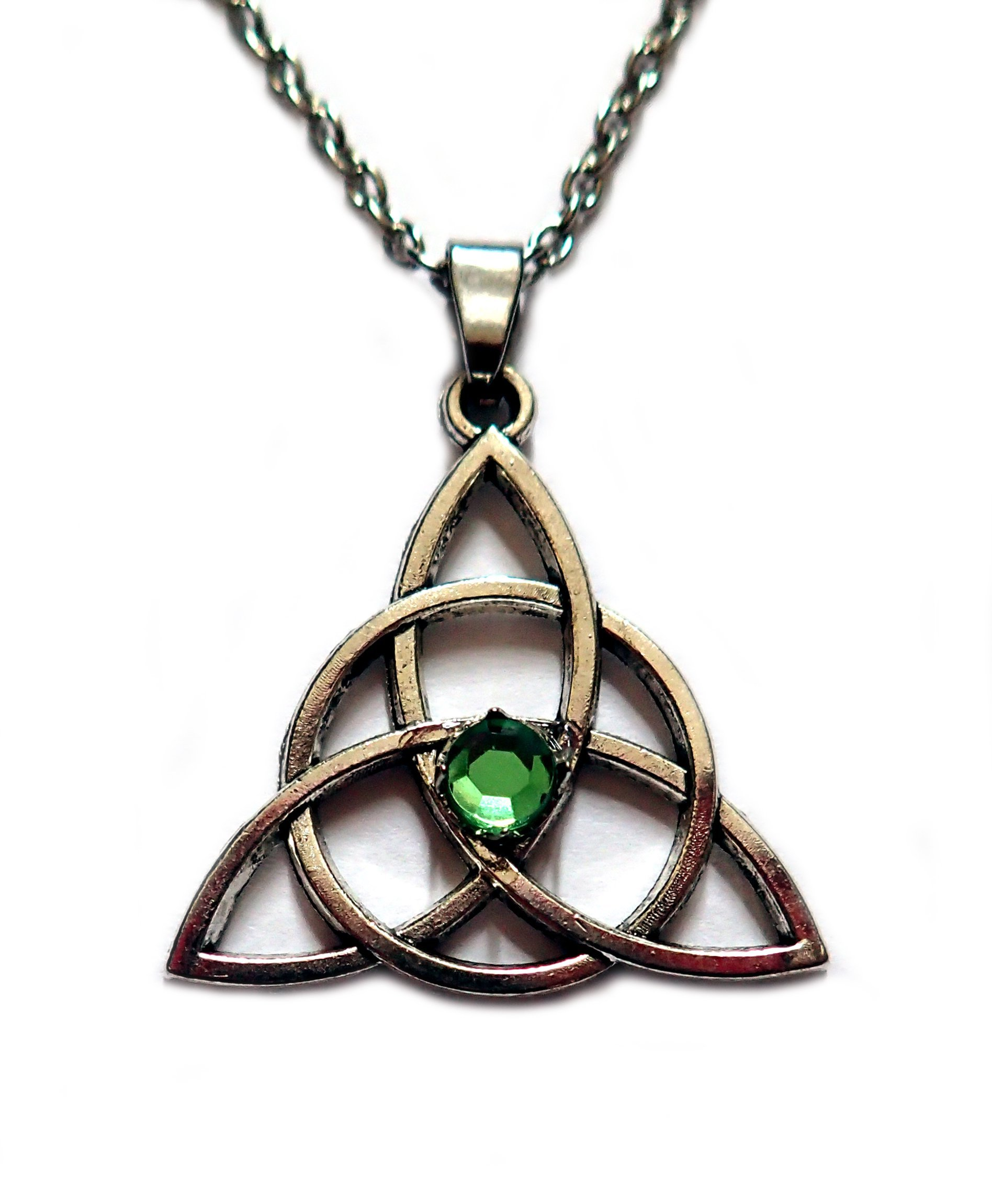 Celtic Triquetra Tinity Knot Silver Pendant Light Green Stone