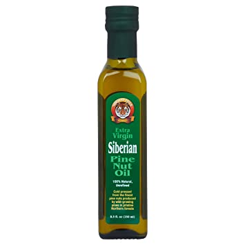 Extra Virgin Siberian Pine Nut Oil, 8 5 oz  Bottle - Premium Quality,  Unrefined, 100% Natural -