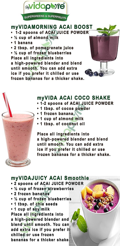 myVidaPure Organic ACAI BERRY JUICE EN POLVO. 100% Pure Natural RAW Non-GMO. SUPERFOOD Polvo para salud, repostería, belleza, cocina y suplementos ...