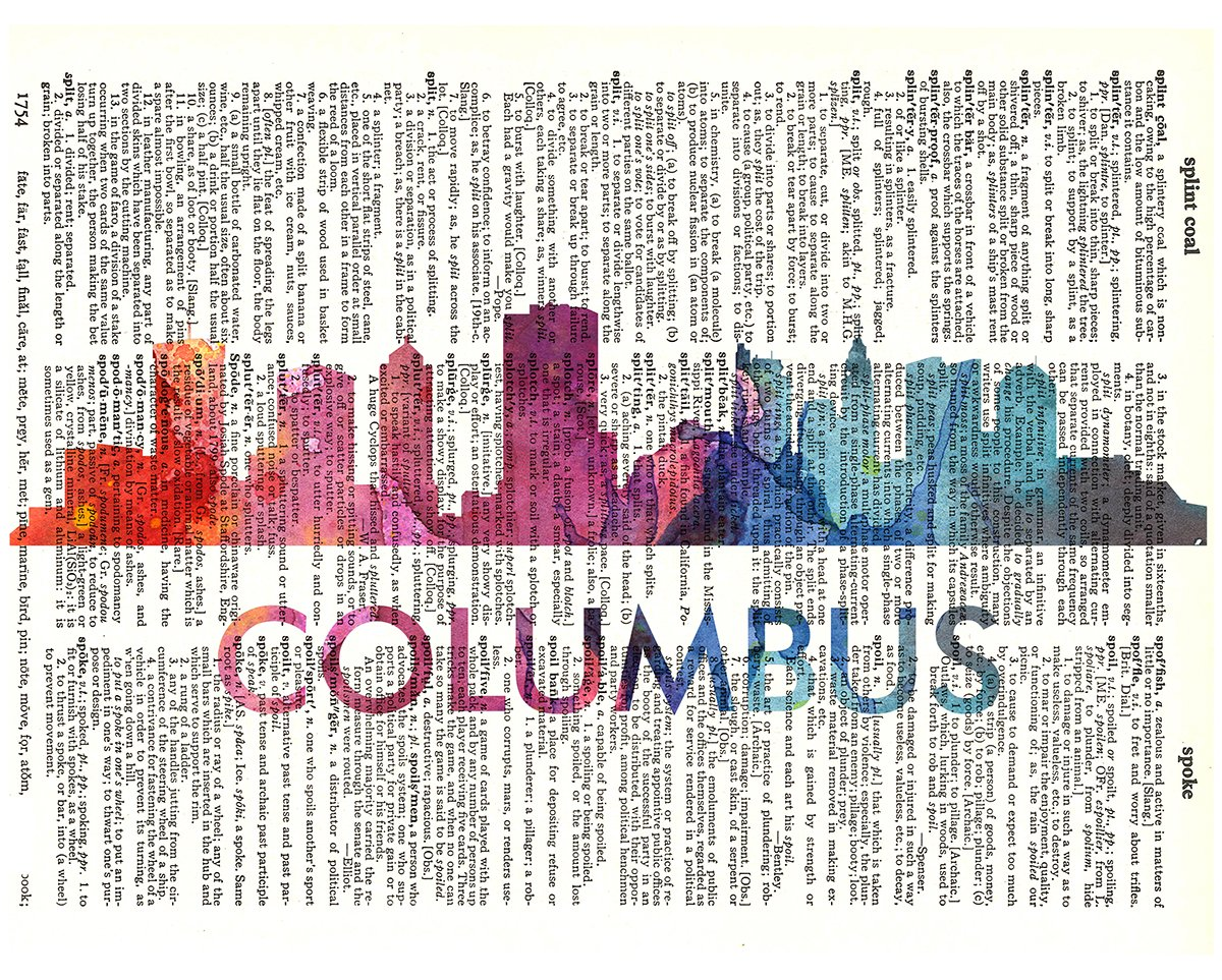Fresh Prints of CT Columbus Love Your City Watercolor Skyline Dictionary Art Print Printed On Authentic Vintage Dictionary Book Page-8x10.5