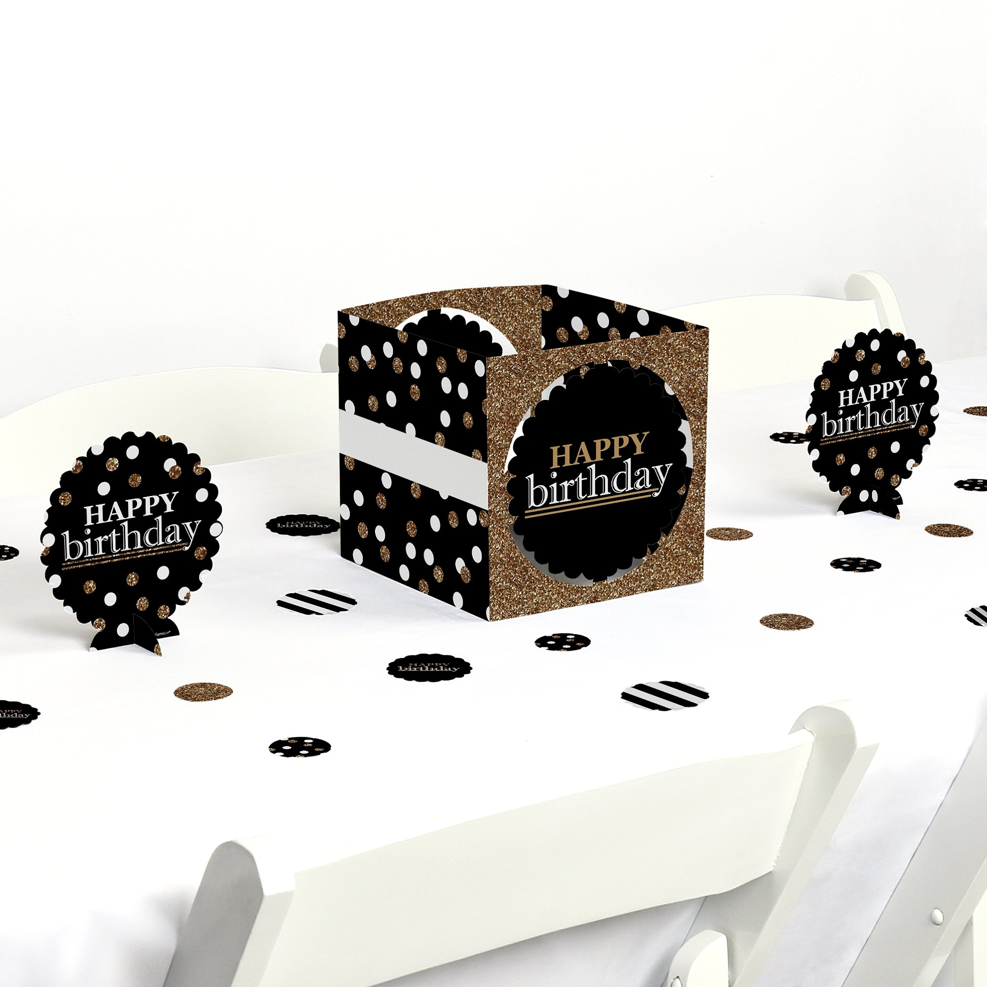 Adult Happy Birthday - Gold - Birthday Party Centerpiece & Table Decoration Kit