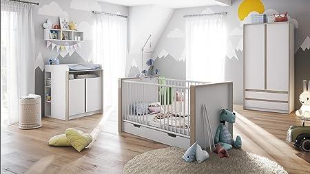 Admirable Baby Nursery Room Furniture Set Nandini Set 1 In White Matt With Skirtings In Sand Grey High Gloss Download Free Architecture Designs Ferenbritishbridgeorg